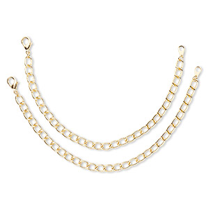 chain, blue moon beads, gold-finished steel, twisted oval cable, 7 inches. sold per pkg of 2.