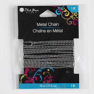 chain, blue moon beads, silver-finished pewter (zinc-based alloy), 2mm flat oval cable. sold per pkg of 70 inches.