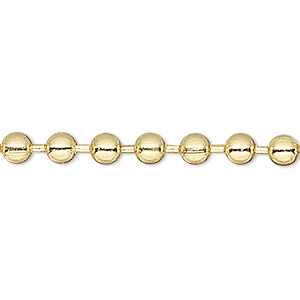 chain, brass-plated steel, 2.4mm ball. sold per 50-foot spool.