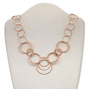 chain, copper, 41mm brushed and textured round cable, 36 inches with hook clasp. sold individually.