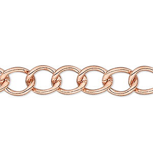 chain, copper-plated copper, 4mm curb, 18 inches with lobster claw clasp. sold individually.