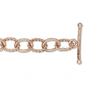chain, copper-plated copper, 6mm twisted oval cable, 7 inches with toggle clasp. sold individually.
