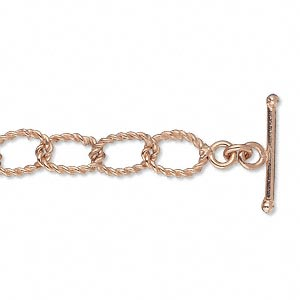 chain, copper-plated copper, 7mm twisted oval cable, 6-1/2 inches with toggle clasp. sold individually.
