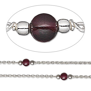 chain, garnet (natural) and sterling silver, 4mm beaded round. sold per pkg of 5 feet.