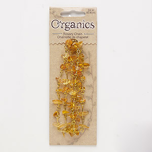 chain, glass and gold-finished steel, yellow, medium chip. sold per pkg of 24 inches.