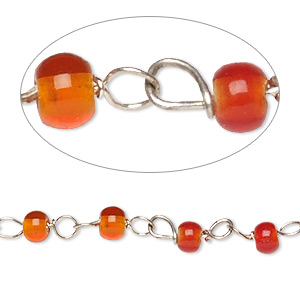chain, glass and silver-finished copper, opaque red and translucent orange, 4mm beaded round. sold per 26-inch strand.