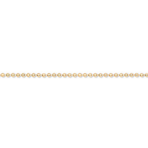chain, gold-finished brass, 1mm ball, 7-1/2 inches with 1-1/4 inch extender chain and lobster claw clasp. sold per pkg of 6.