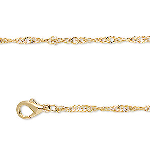 chain, gold-finished brass, 1mm singapore, 18 inches with 1-inch extender chain and lobster claw clasp. sold per pkg of 4.
