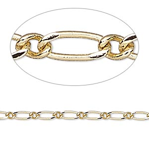 chain, gold-finished brass, 2.5mm long and short oval. sold per pkg of 5 feet.