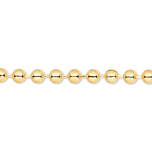 chain, gold-finished brass, 2mm ball, 7-1/2 inches with 1-1/4 inch extender chain and lobster claw clasp. sold per pkg of 6.