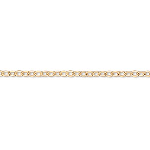 chain, gold-finished brass, 2mm cable, 24 inches with 1-inch extender chain and lobster claw clasp. sold per pkg of 2.
