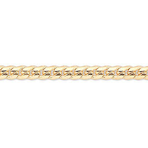 chain, gold-finished brass, 2mm curb, 24 inches with 1-1/4 inch extender chain and lobster claw clasp. sold per pkg of 2.