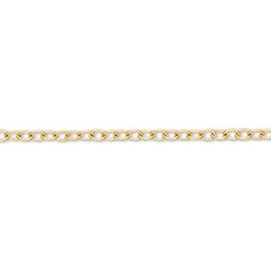 chain, gold-finished brass, 3x2.5mm cable. sold per pkg of 5 feet.