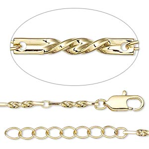 chain, gold-finished brass, 3x2mm oval and 14x2mm twisted flat rectangle, 16 inches with 1-1/4 inch extender chain and lobster claw clasp. sold individually.