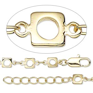 chain, gold-finished brass, 3x2mm oval and 5x5mm open square, 18 inches with 1-1/4 inch extender chain and lobster claw clasp. sold individually.