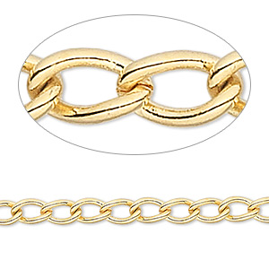 chain, gold-finished brass, 4mm curb. sold per pkg of 5 feet.