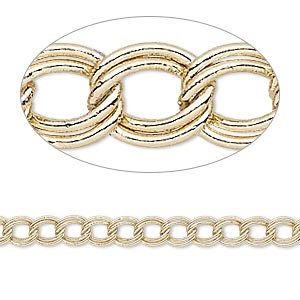 chain, gold-finished brass, 4mm double curb. sold per pkg of 5 feet.
