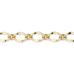 chain, gold-finished brass, 6mm long and short oval. sold per 50-foot spool.