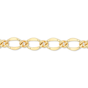 chain, gold-finished brass, 6mm long and short oval. sold per pkg of 50 feet.