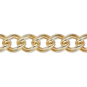 chain, gold-finished brass, 9.5mm double curb. sold per pkg of 5 feet.