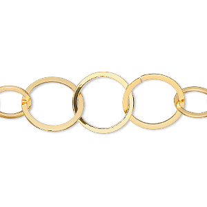 chain, gold-plated brass, 14mm flat round cable. sold per pkg of 5 feet.