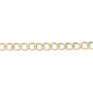 chain, gold-plated brass, 3.5mm curb. sold per pkg of 5 feet.