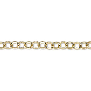 chain, gold-plated brass, 5mm rolo. sold per pkg of 5 feet.