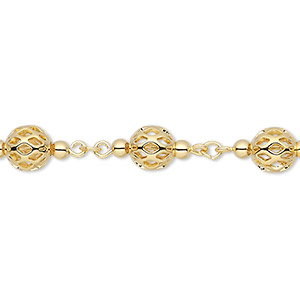 chain, gold-plated brass, 6mm beaded filigree. sold per pkg of 5 feet.