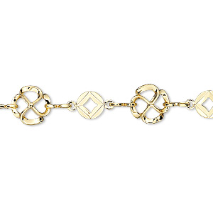 chain, gold-plated brass, 8.5mm flower with 6mm round. sold per pkg of 5 feet.