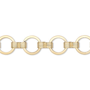 chain, gold-plated brass, 8mm round. sold per pkg of 5 feet.