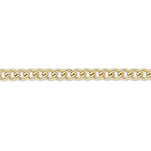 chain, gold-plated steel, 3.2mm curb. sold per pkg of 5 feet.