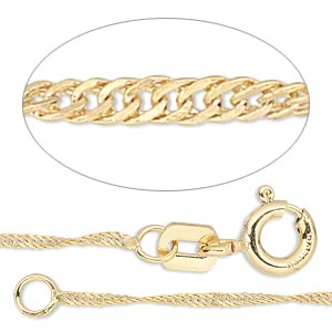 chain, gossamer™, 14kt gold-filled, 1mm singapore, 16 inches with springring clasp. sold individually.