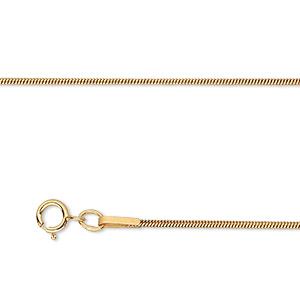 chain, gossamer™, 14kt gold-filled, 1mm snake, 20 inches with springring clasp. sold individually.