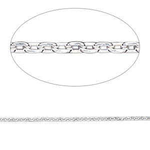 chain, gossamer™, sterling silver, 1.2mm cable. sold per pkg of 5 feet.