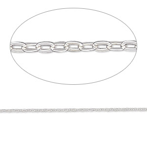 chain, gossamer™, sterling silver, 1mm flat cable, 16 inches. sold individually.