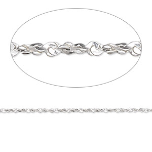 chain, gossamer™, sterling silver, 1mm twisted serpentine, 18 inches. sold individually.