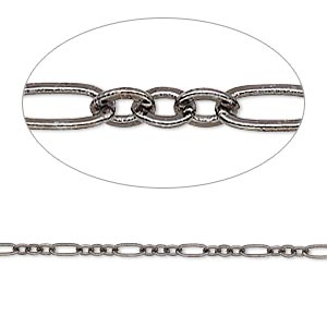chain, gunmetal-plated brass, 2.5mm figaro. sold per pkg of 5 feet.