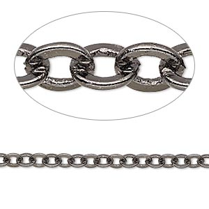 chain, gunmetal-plated brass, 4mm flat cable. sold per pkg of 5 feet.