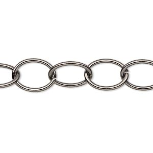 chain, gunmetal-plated steel, 10mm oval cable. sold per pkg of 5 feet.