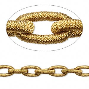 chain, nylon and rubber, copper, 8mm oval. sold per pkg of 36 inches.