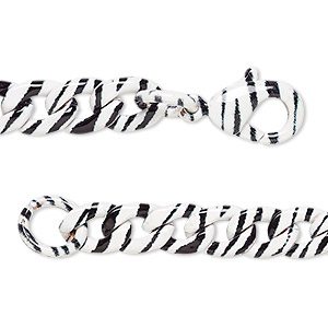 chain, painted steel, black and white, 7.3x5.5mm curb with zebra print pattern, 18 inches with lobster claw clasp. sold individually.