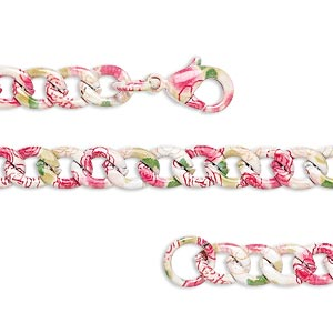 chain, painted steel, multicolored, 5.5mm curb with flower pattern, 7 inches with lobster claw clasp. sold individually.