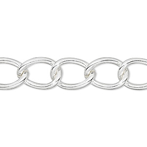 chain, silver-finished brass, 9mm curb. sold per pkg of 50 feet.