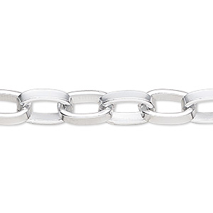 chain, silver-plated aluminum, 12x8mm oval rolo. sold per pkg of 25 feet.