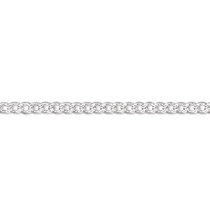 chain, silver-plated brass, 1mm curb, 18 inches with 1-1/4 inch extender chain and lobster claw clasp. sold per pkg of 4.