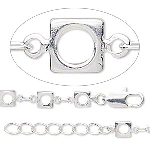 chain, silver-plated brass, 2mm oval link and 5mm open square link, 7-1/2 inches with 1-1/4 inch extender chain and lobster claw clasp. sold individually.