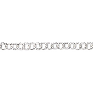 chain, silver-plated brass, 4mm round cable. sold per 50-foot spool.