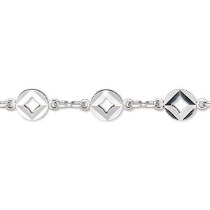 chain, silver-plated brass, 5.5mm flat round with diamond cutout. sold per pkg of 5 feet.