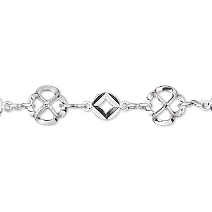 chain, silver-plated brass, 8.5mm flower with 6mm round. sold per pkg of 5 feet.
