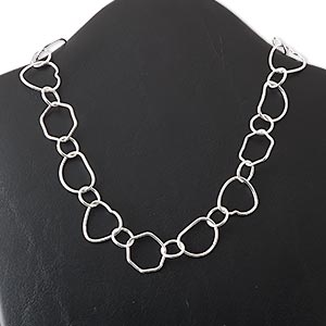 chain, silver-plated copper, 13mm-25x22mm multi-shape, 18 inches with s-hook clasp. sold individually.